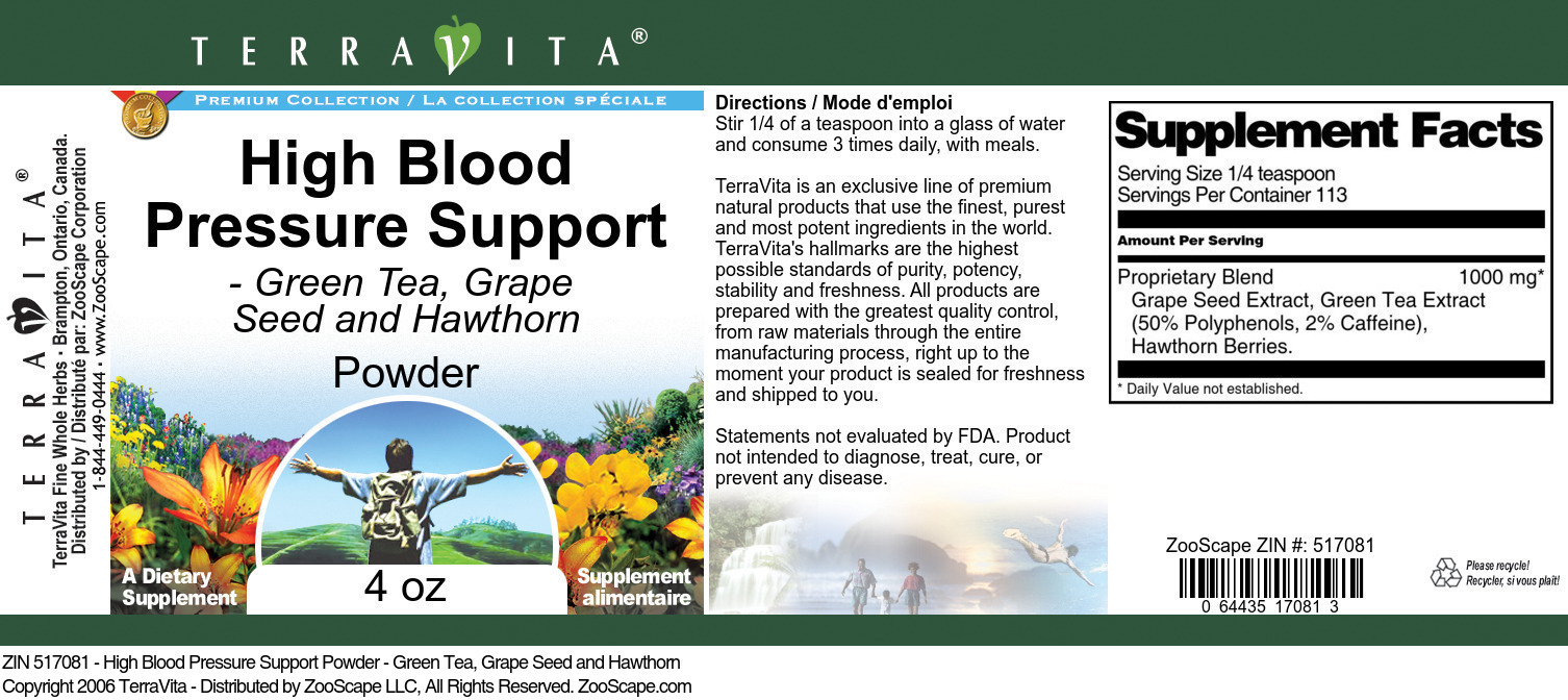 High Blood Pressure Support Powder - Green Tea, Grape Seed and Hawthorn