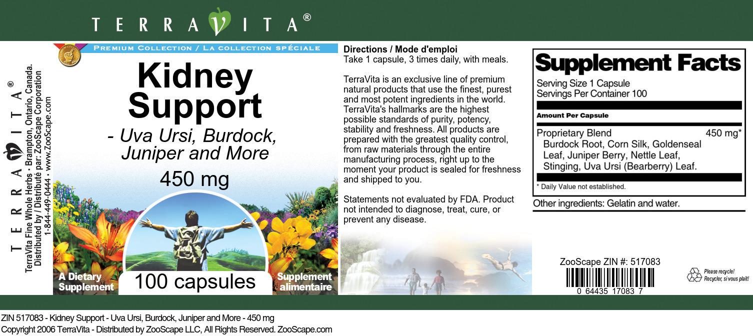 Kidney Support - Uva Ursi, Burdock, Juniper and More - 450 mg