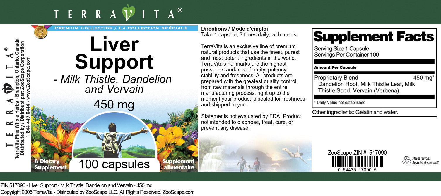 Liver Support - Milk Thistle, Dandelion and Vervain - 450 mg