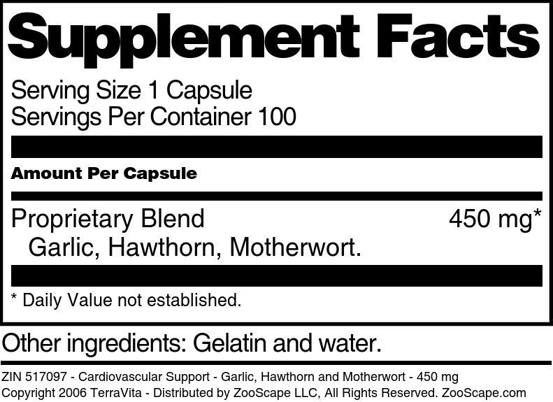 Cardiovascular Support - Garlic, Hawthorn and Motherwort - 450 mg