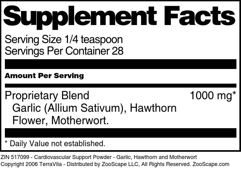 Cardiovascular Support Powder - Garlic, Hawthorn and Motherwort