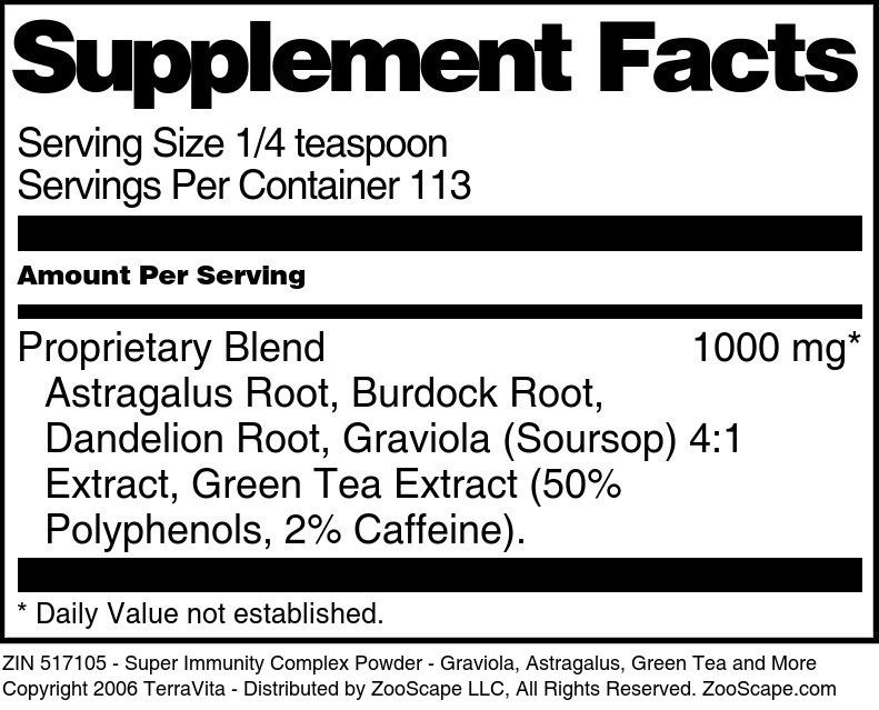 Super Immunity Complex Powder - Graviola, Astragalus, Green Tea and More