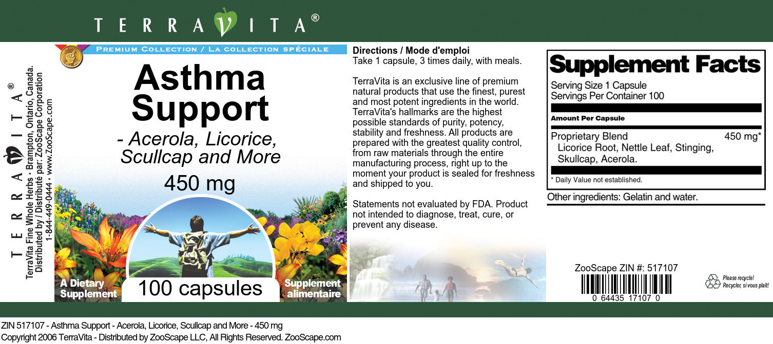 Asthma Support - Acerola, Licorice, Scullcap and More - 450 mg