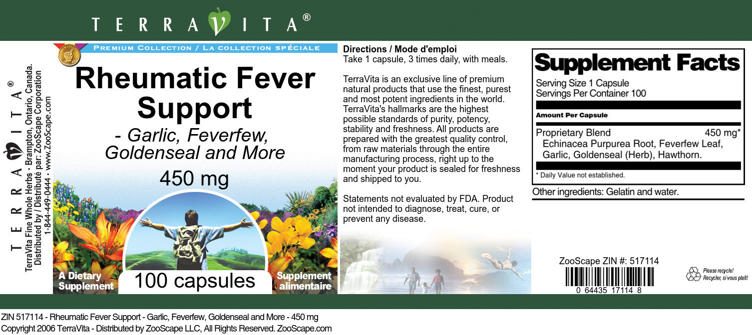 Rheumatic Fever Support - Garlic, Feverfew, Goldenseal and More - 450 mg