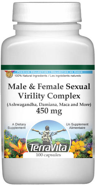Male and Female Sexual Virility Complex - Ashwagandha, Damiana, Maca and More - 450 mg