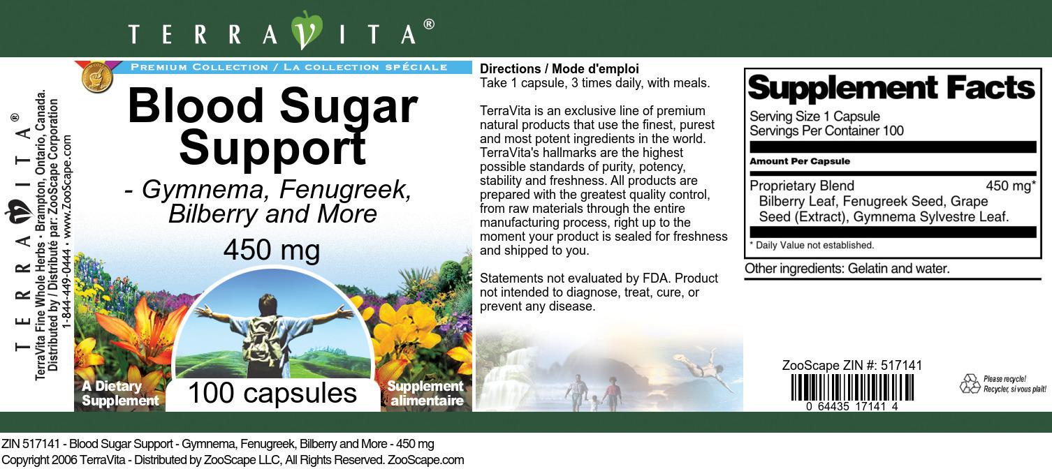 Blood Sugar Support - Gymnema, Fenugreek, Bilberry and More - 450 mg