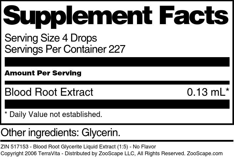 Blood Root Glycerite Liquid Extract (1:5)