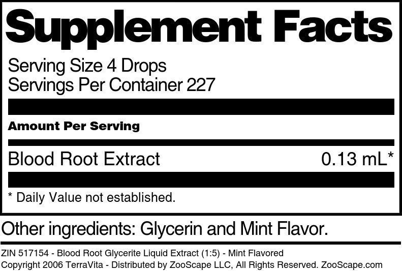 Blood Root Glycerite Liquid Extract (1:5) - Mint Flavored - Label