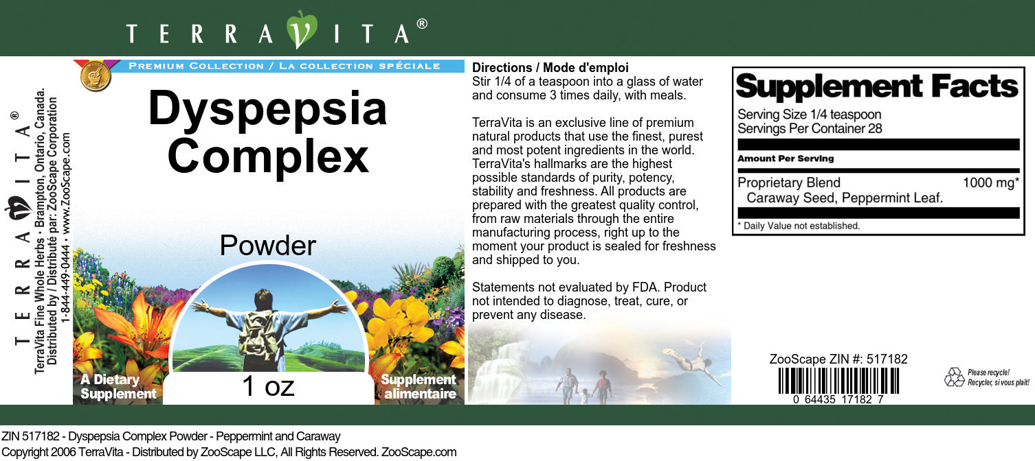 Dyspepsia Complex Powder - Peppermint and Caraway