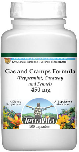 Gas and Cramps Formula - Peppermint, Caraway and Fennel - 450 mg