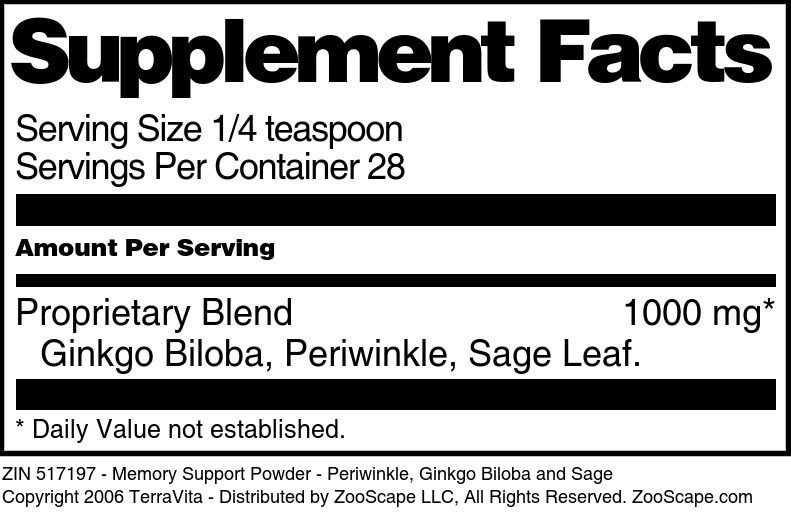 Memory Support Powder - Periwinkle, Ginkgo Biloba and Sage