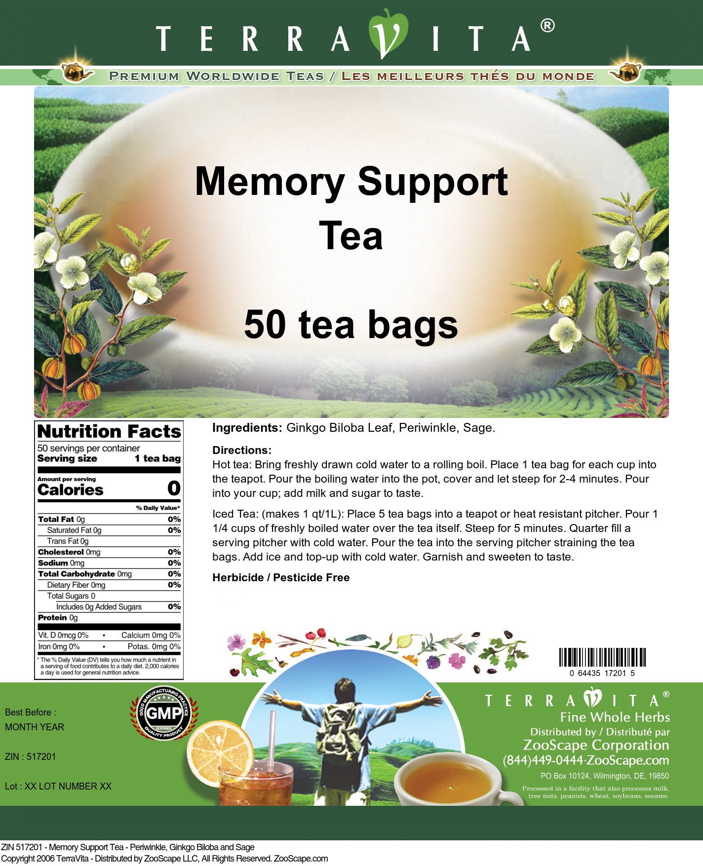 Memory Support Tea - Periwinkle, Ginkgo Biloba and Sage