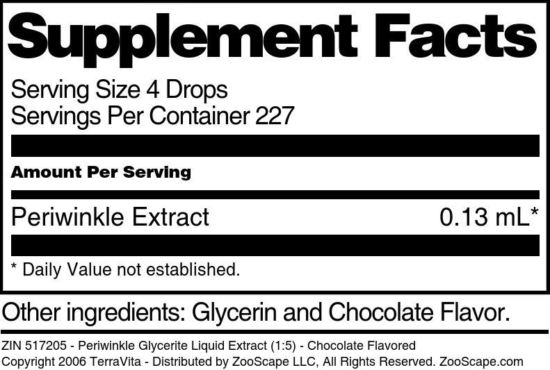 Periwinkle Glycerite Liquid Extract (1:5)