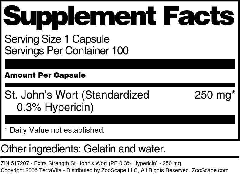 Extra Strength St. John's Wort (PE 0.3% Hypericin) - 250 mg