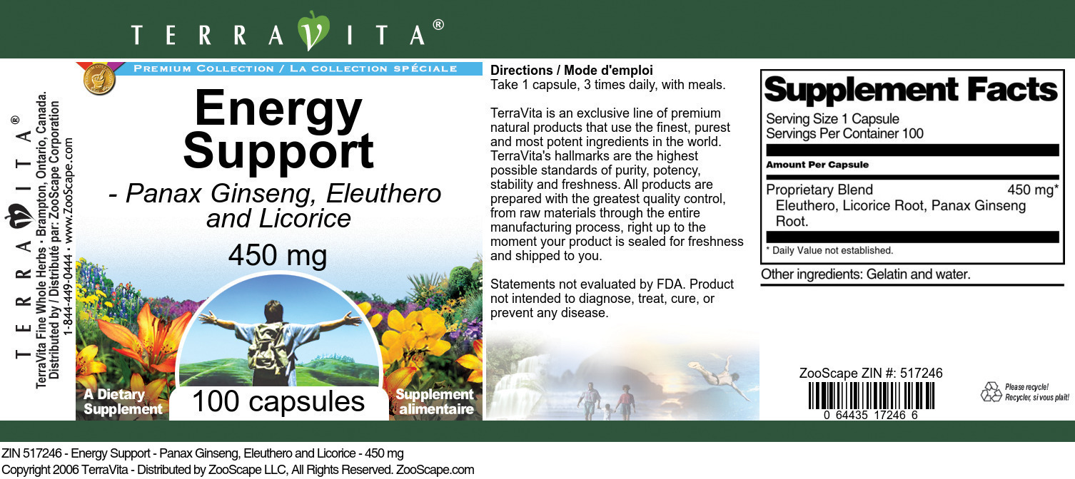 Energy Support - Panax Ginseng, Eleuthero and Licorice - 450 mg