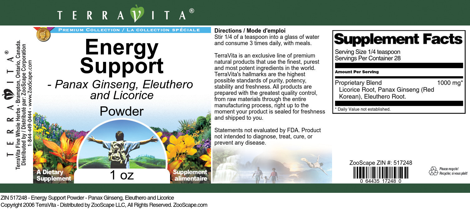 Energy Support Powder - Panax Ginseng, Eleuthero and Licorice