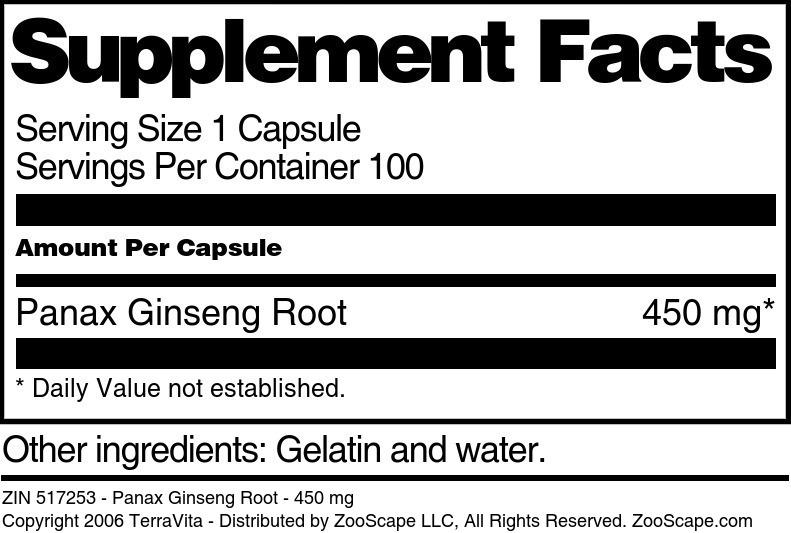 Panax Ginseng Root - 450 mg