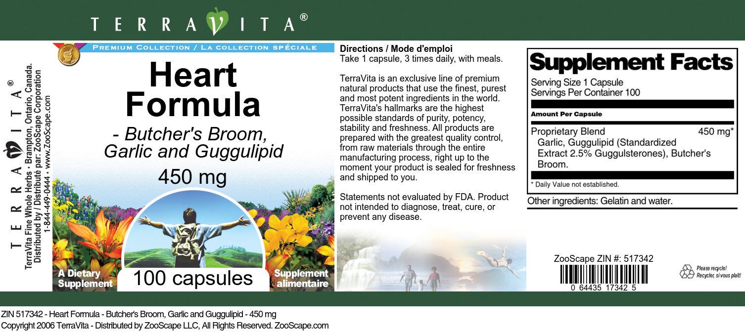 Heart Formula - Butcher's Broom, Garlic and Guggulipid - 450 mg