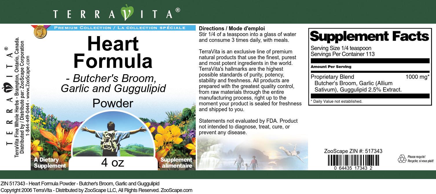 Heart Formula Powder - Butcher's Broom, Garlic and Guggulipid