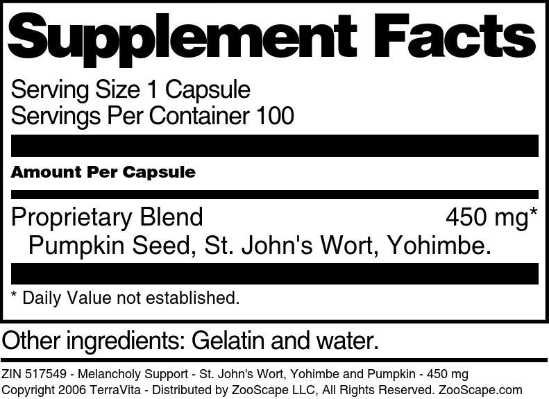Melancholy Support - St. John's Wort, Yohimbe and Pumpkin - 450 mg