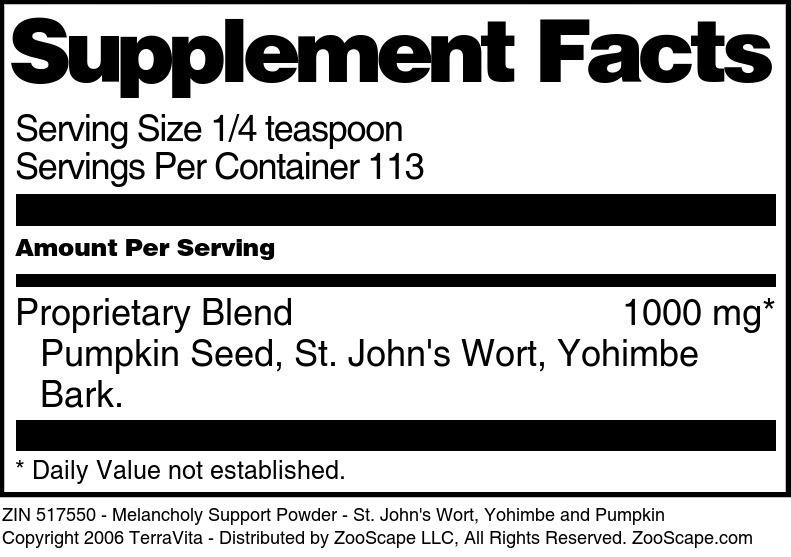 Melancholy Support Powder - St. John's Wort, Yohimbe and Pumpkin