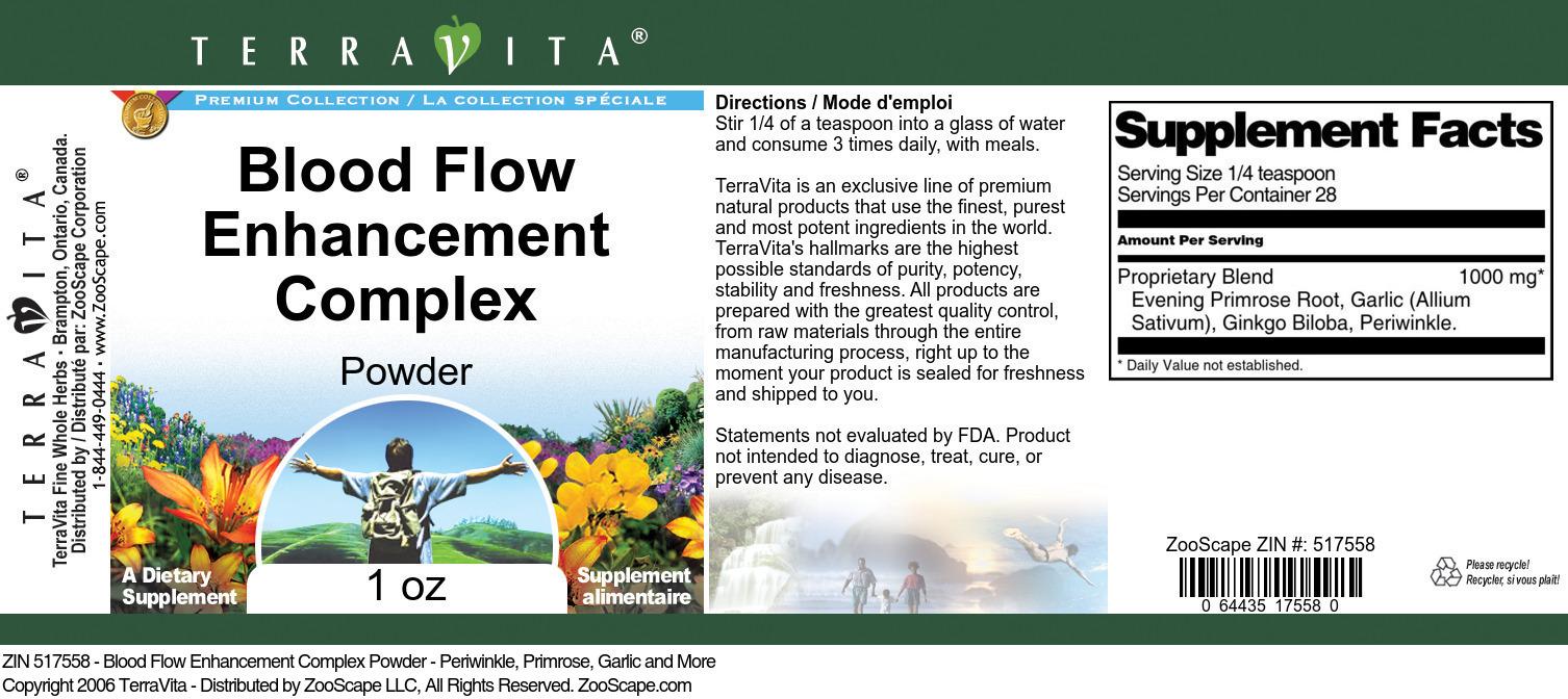 Blood Flow Enhancement Complex Powder - Periwinkle, Primrose, Garlic and More