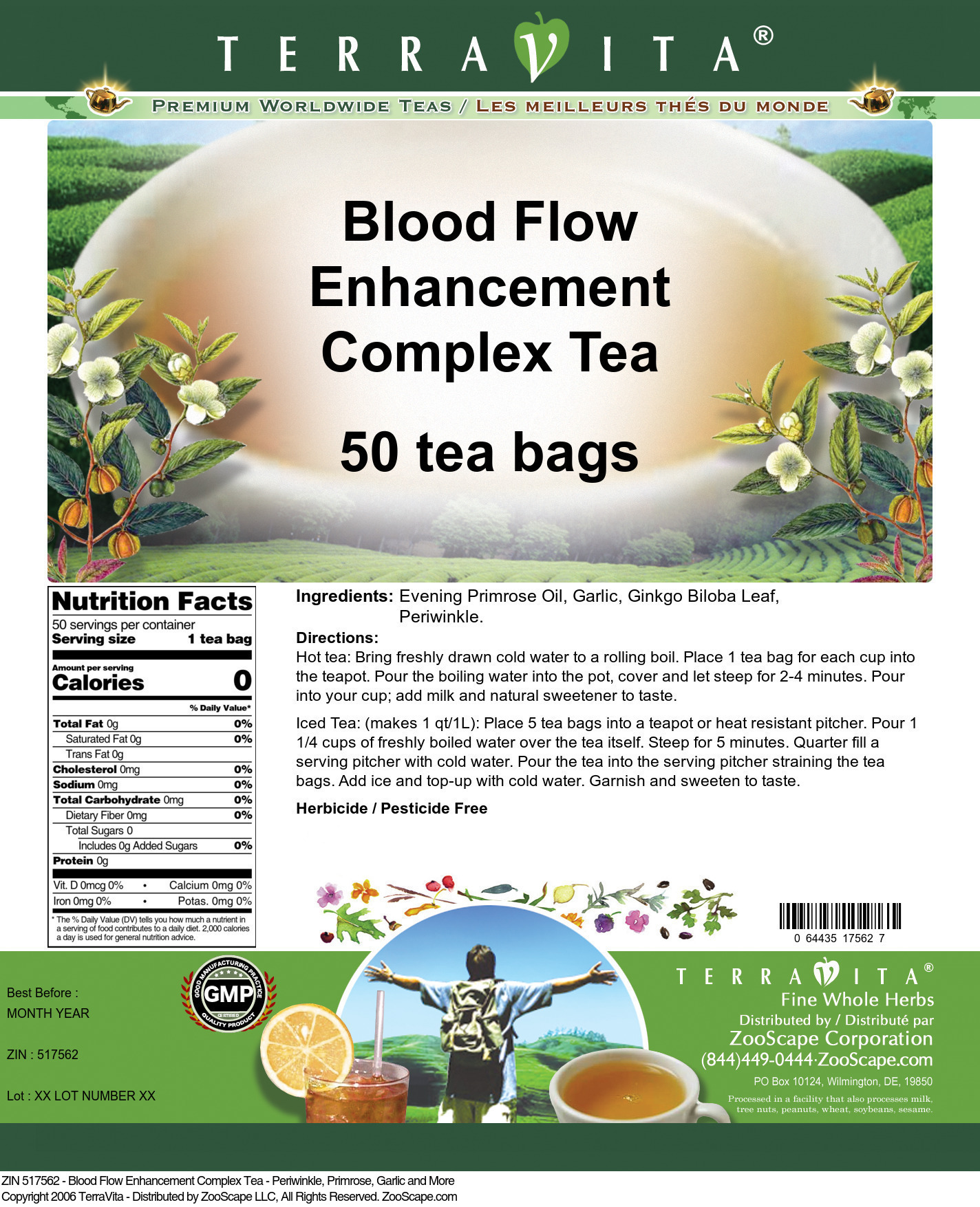 Blood Flow Enhancement Complex Tea - Periwinkle, Primrose, Garlic and More