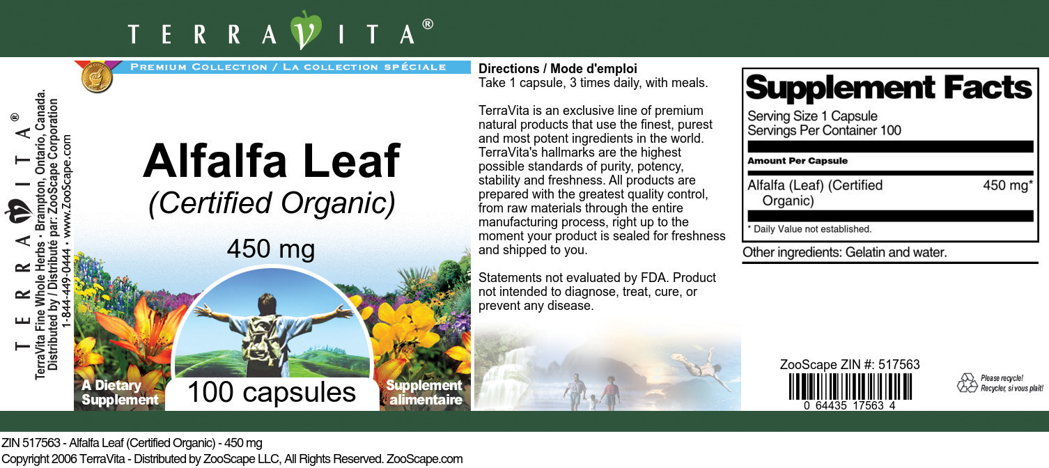 Alfalfa Leaf (Certified Organic) - 450 mg