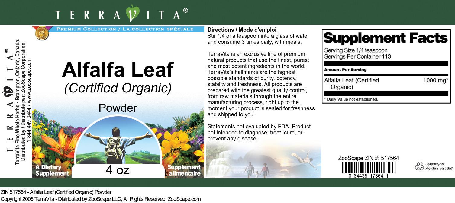 Alfalfa Leaf (Certified Organic) Powder