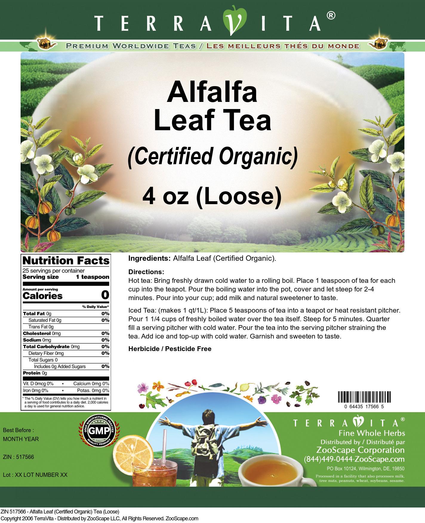 Alfalfa Leaf (Certified Organic) Tea (Loose)