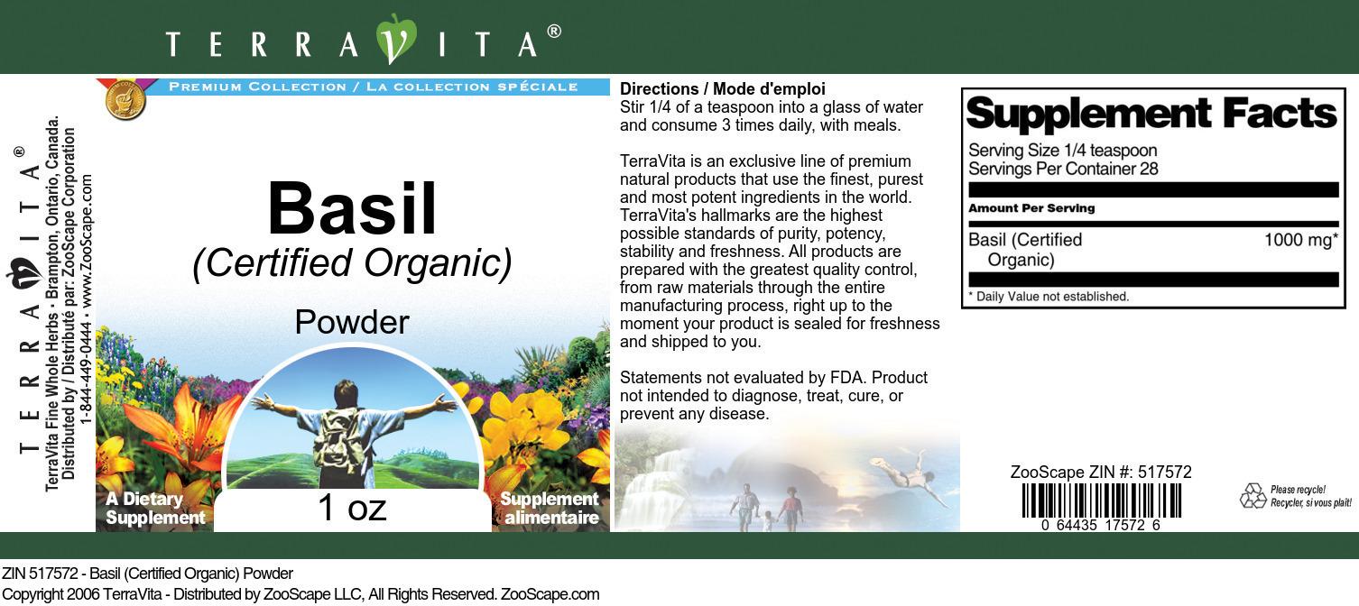 Basil (Certified Organic) Powder
