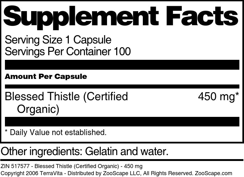 Blessed Thistle (Certified Organic) - 450 mg