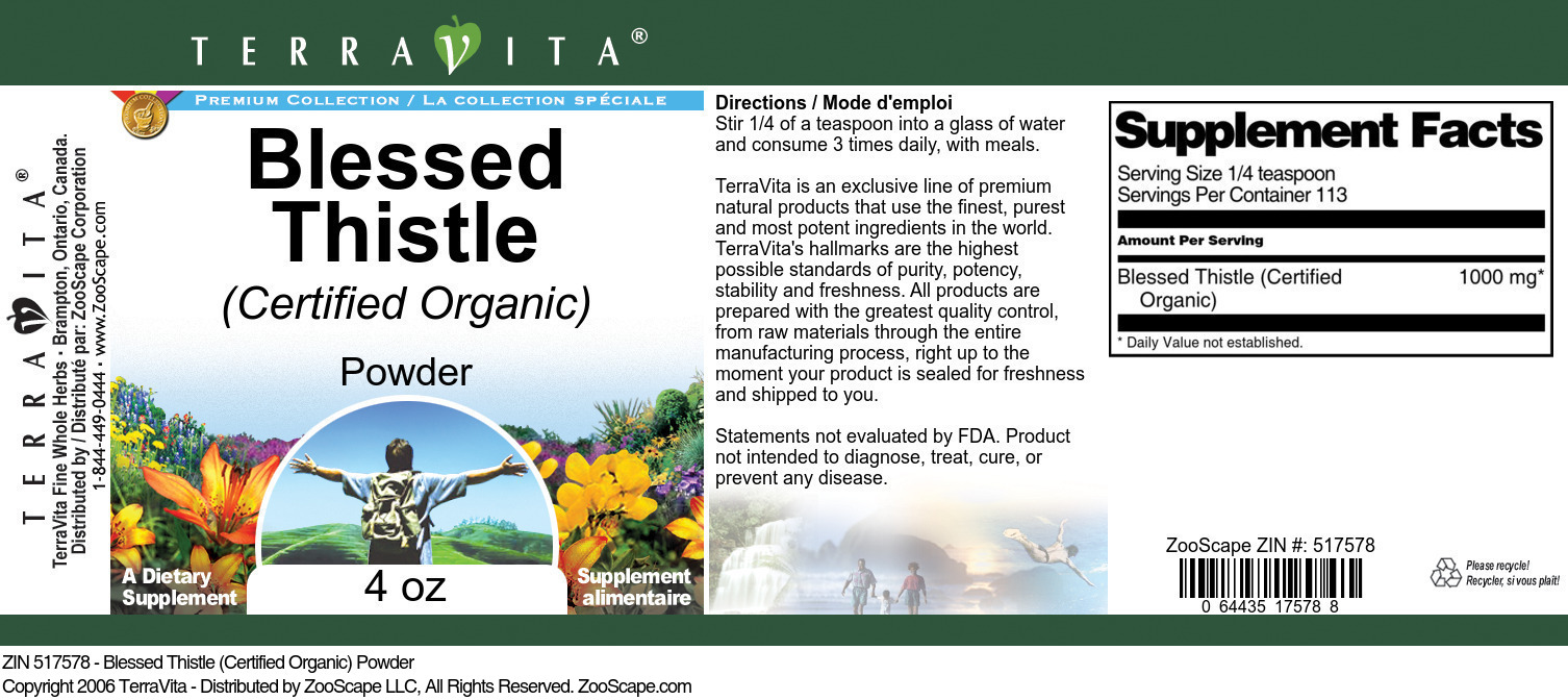 Blessed Thistle (Certified Organic) Powder
