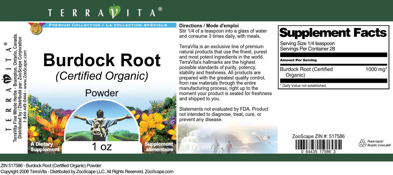 Burdock Root (Certified Organic) Powder