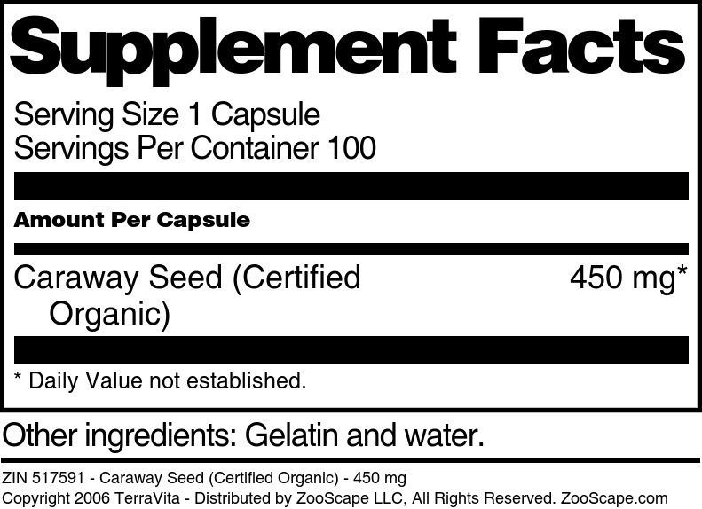 Caraway Seed (Certified Organic) - 450 mg