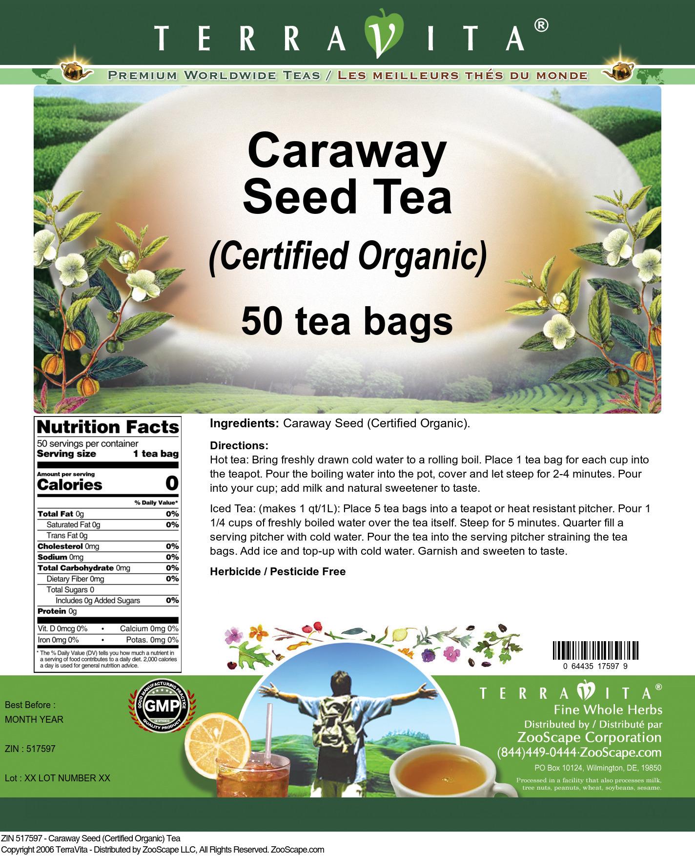 Caraway Seed (Certified Organic) Tea - Label