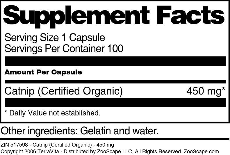 Catnip (Certified Organic) - 450 mg