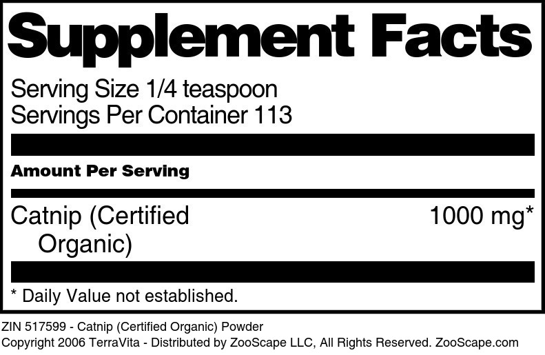 Catnip (Certified Organic) Powder