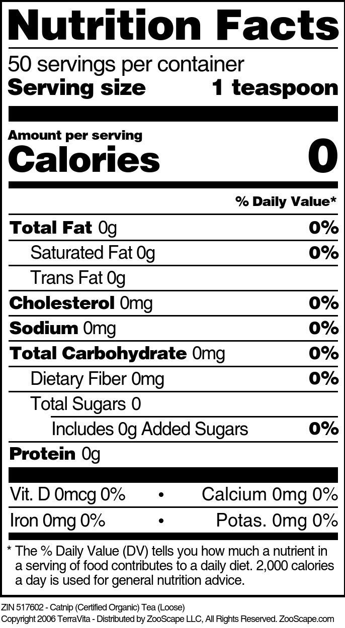 Catnip (Certified Organic) Tea (Loose) - Label