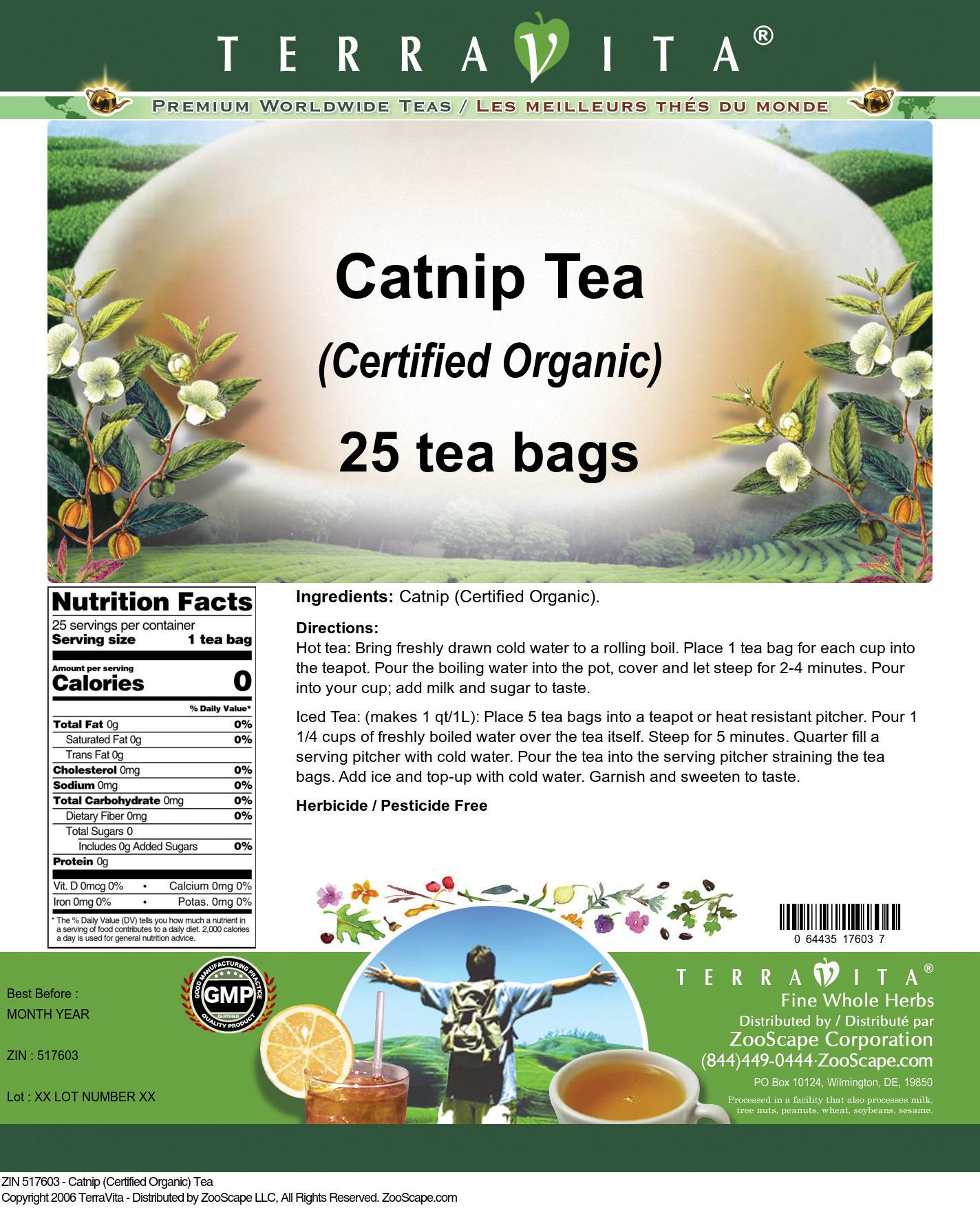Catnip (Certified Organic) Tea - Label