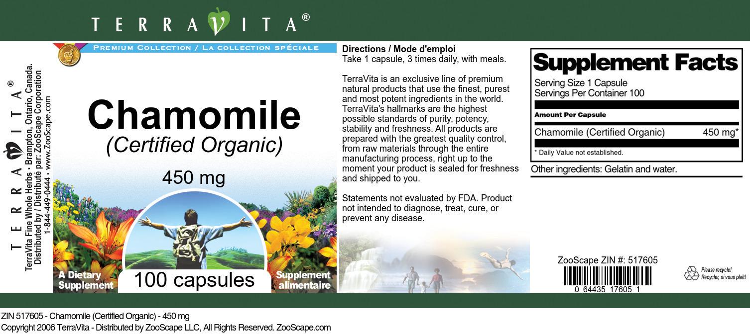 Chamomile (Certified Organic) - 450 mg