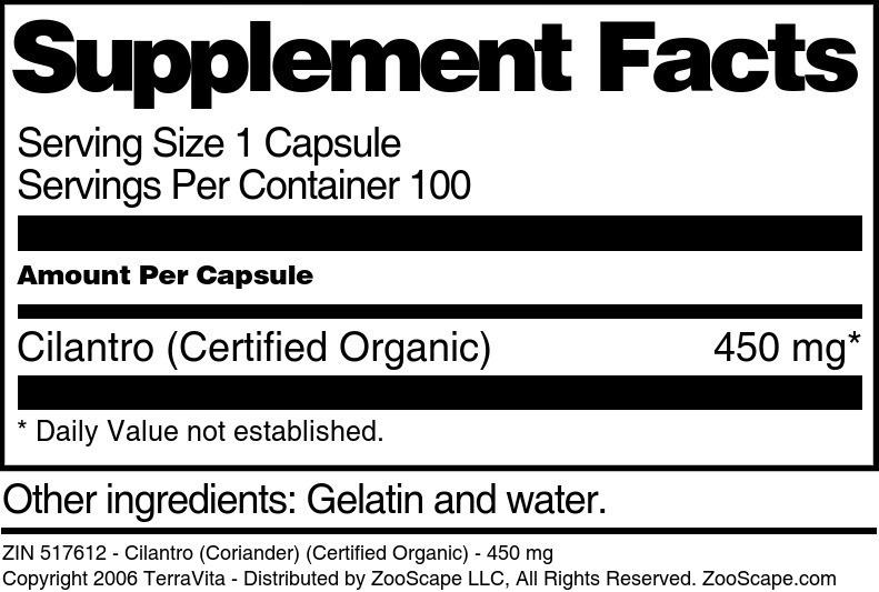 Cilantro (Coriander) (Certified Organic) - 450 mg