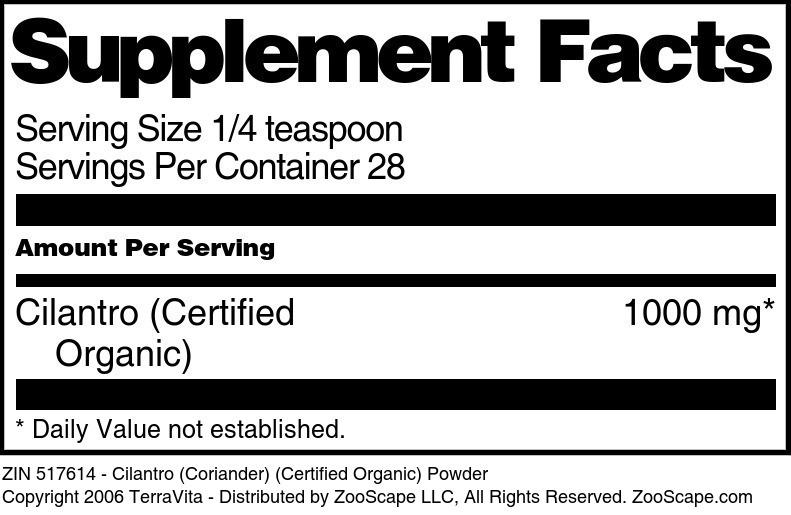 Cilantro (Coriander) (Certified Organic) Powder