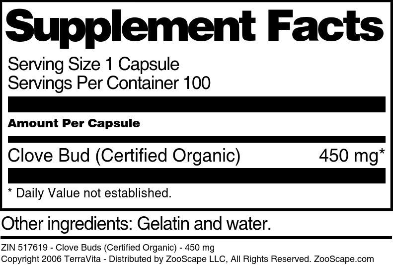 Clove Buds (Certified Organic) - 450 mg
