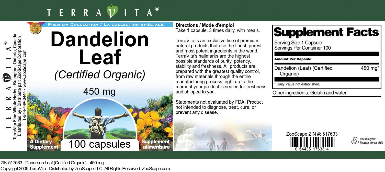 Dandelion Leaf (Certified Organic) - 450 mg