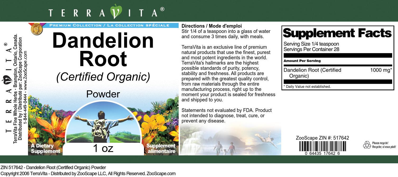 Dandelion Root (Certified Organic) Powder