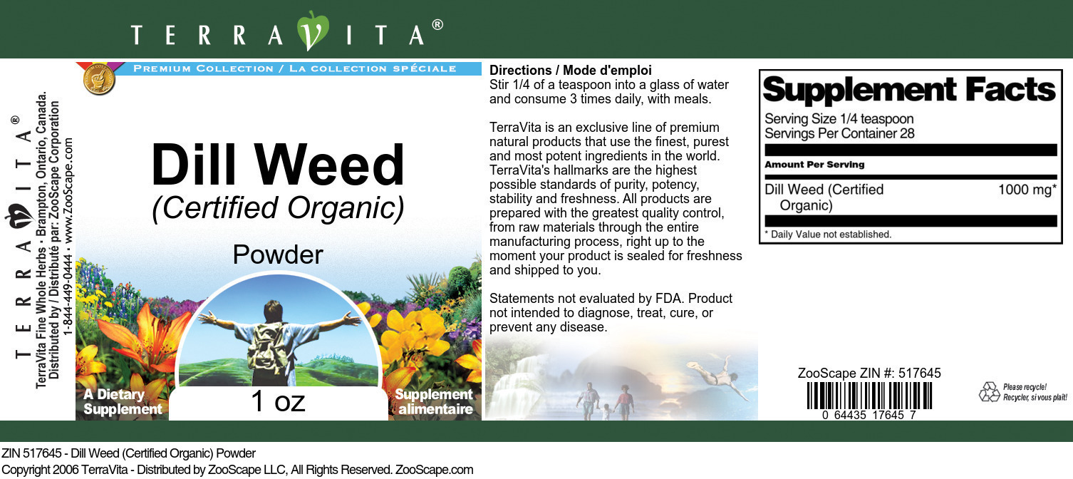 Dill Weed (Certified Organic) Powder