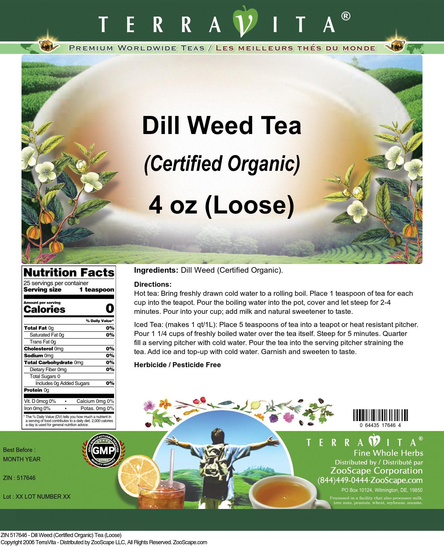 Dill Weed (Certified Organic) Tea (Loose)