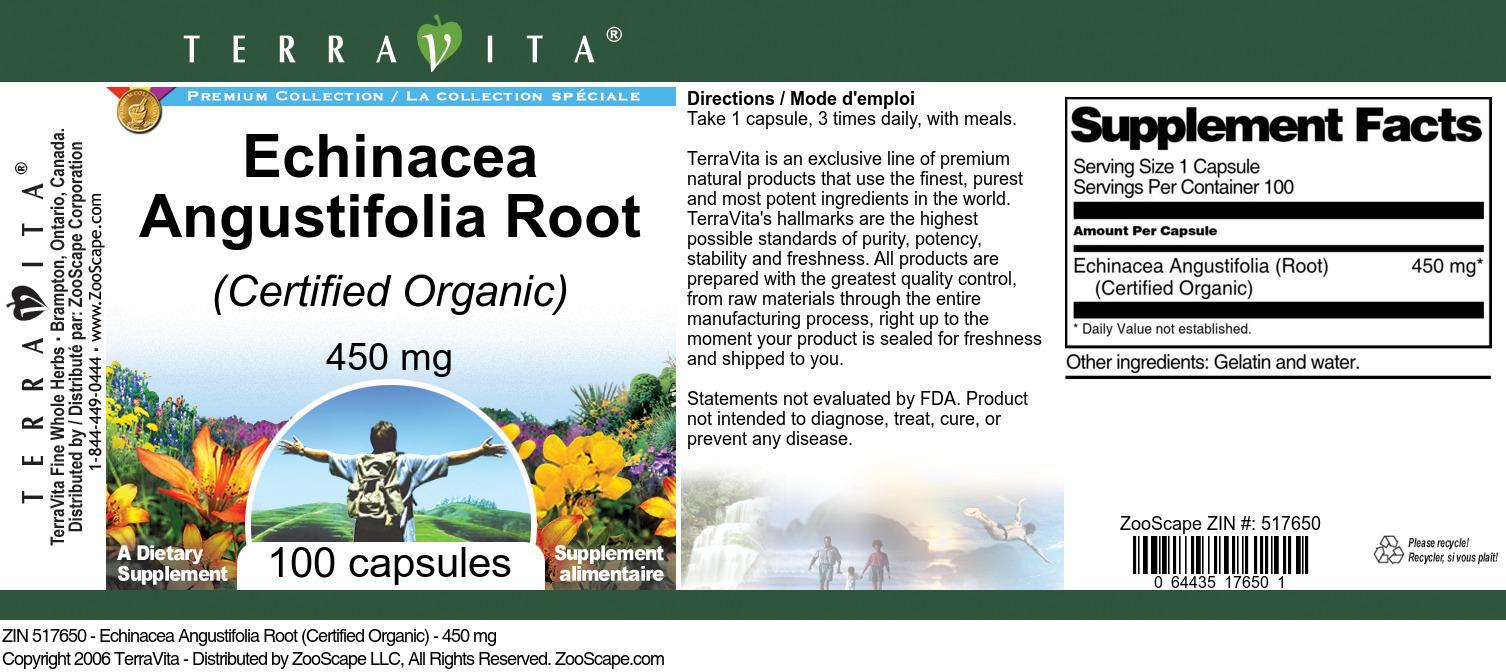 Echinacea Angustifolia Root (Certified Organic) - 450 mg