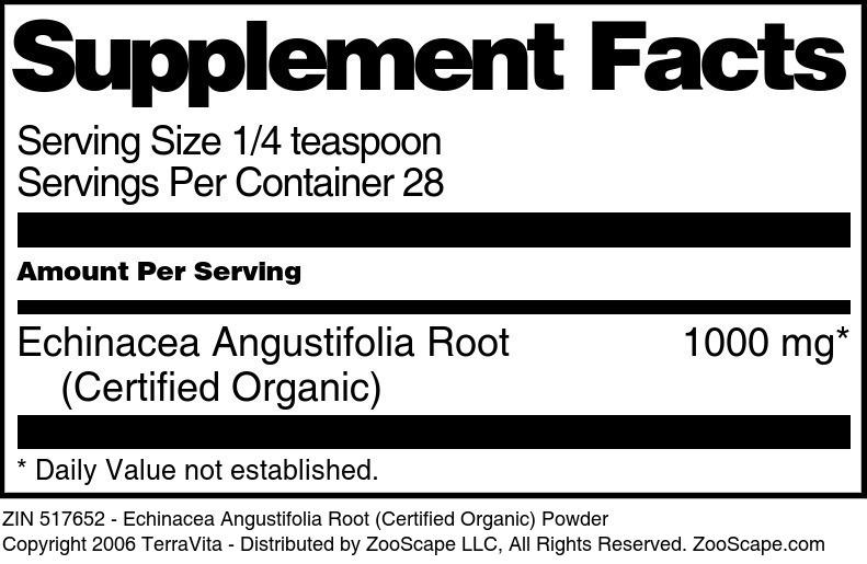 Echinacea Angustifolia Root (Certified Organic) Powder